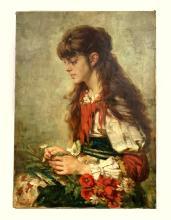 Alexei Alexeiévitch HARLAMOFF (1840-1925). Jeune fille au bouquet de fleurs.