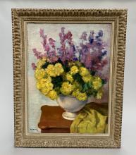 Charles KVAPIL (1884-1957). Vase fleuri, huile sur toile, signée et datée 1937 en bas à gauche. 81 x 59,5 cm.