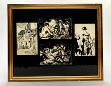 Charles KVAPIL (1884-1957). Ensemble de quatre dessins à l'encre sur papier réunis sous cadre figurant des scènes animées et une vue urbaine. 18 x 12 cm et 12 x 18,5 cm. Pliures, petites déchirures.