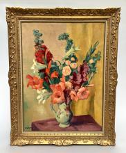 Charles KVAPIL (1884-1957). Broc fleuri, huile sur toile signée et datée en bas à gauche 1938. 81,5 x 60 cm.
