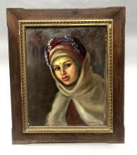 Solange MONVOISIN (1907-1985). Jeune femme arabe, huile sur panneau signée en bas à droite S.Monvoisin. 50,5 x 40 cm