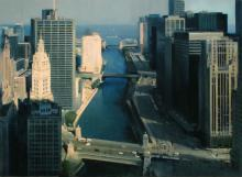 Ben Aronson, Chicago River From Above, 2016, oil on panel, 38 x 52 1/2 inches