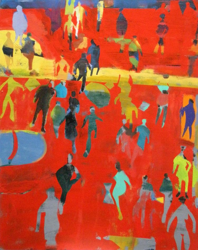David Kapp, Vertical Crowd on Red Ground