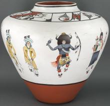 Jose de la Cruz Medina | Large Zia Pot with Dancers