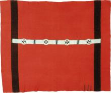 Red Wool Blanket with Sioux Beaded Strip