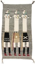 Navajo Rug with Three Long Figures