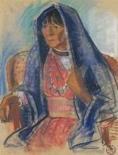 Edmond Kinzinger | Woman with Blue Shawl