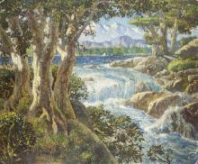 Hernando Villa | Landscape with Waterfall