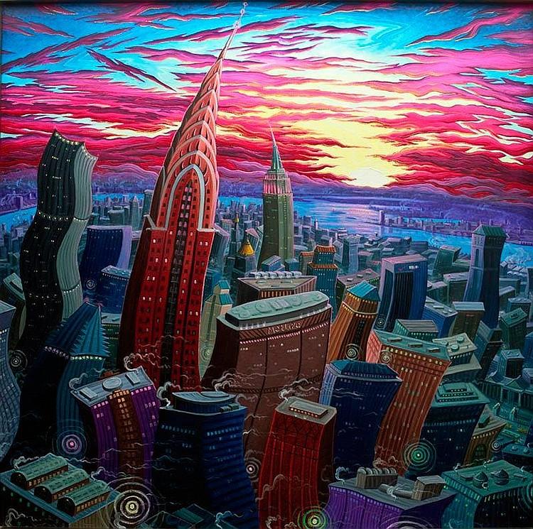 Kim Douglas Wiggins: The Chrysler at Sunset