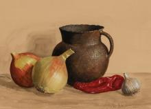 William Acheff | Still Life With Pitcher, Onions and Pepper