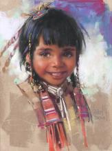 Harley Brown | Native American Girl with Red Shawl