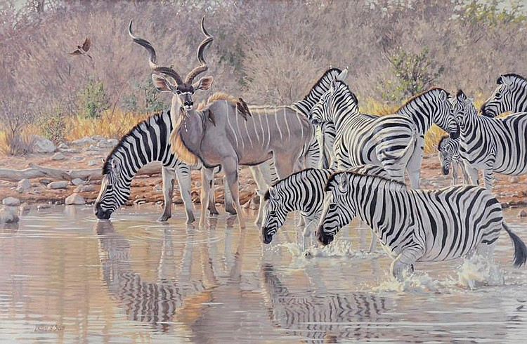Lindsay Scott. b. 1955. Etosha Water Hole. Oil on