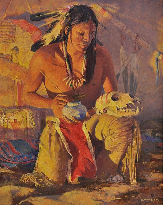 David Mann. b. 1948. Spirit Brothers. Oil on