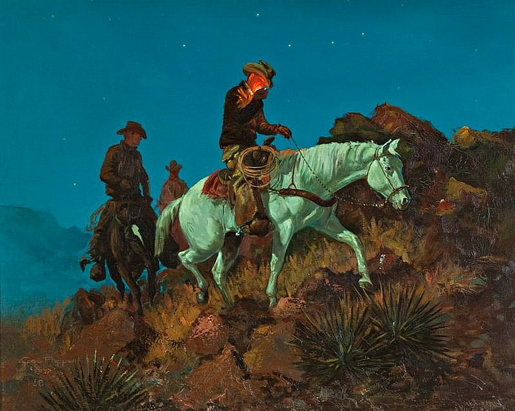 George Phippen. 1916 - 1966 CAA. Moonlit Ride. Oil