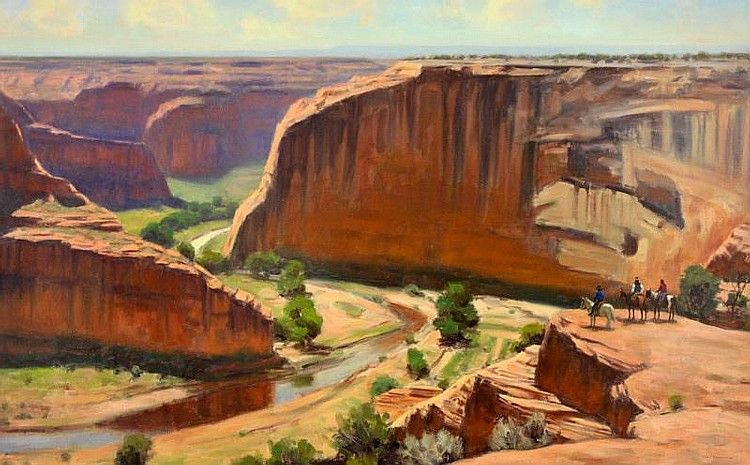 Karl Thomas. b. 1948. Canyon Overlook. Oil on
