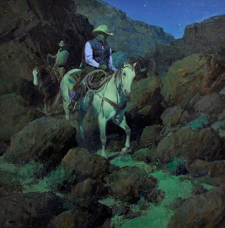 Bill Anton. b. 1957. Out of Canyon Shadows. Oil on