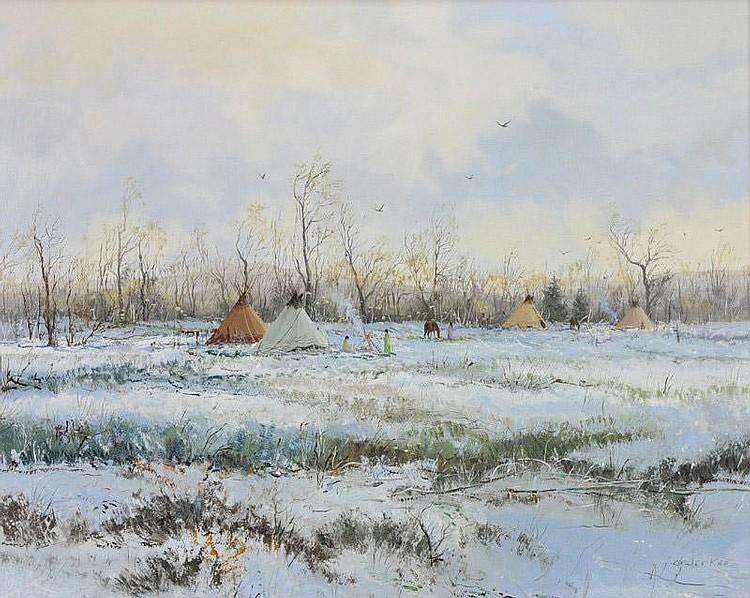 Thomas Dedecker. b. 1951. Sioux Encampment. Oil on