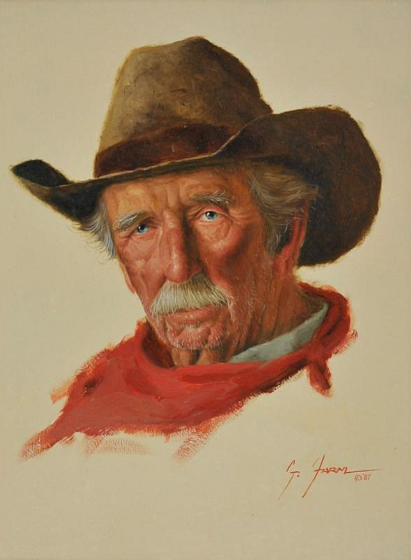 Gerald Farm. b. 1935. The Cowboy. Oil on panel. 11