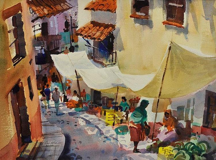 Tom Hill. b. 1925 ANA, AWS. Taxco Market.