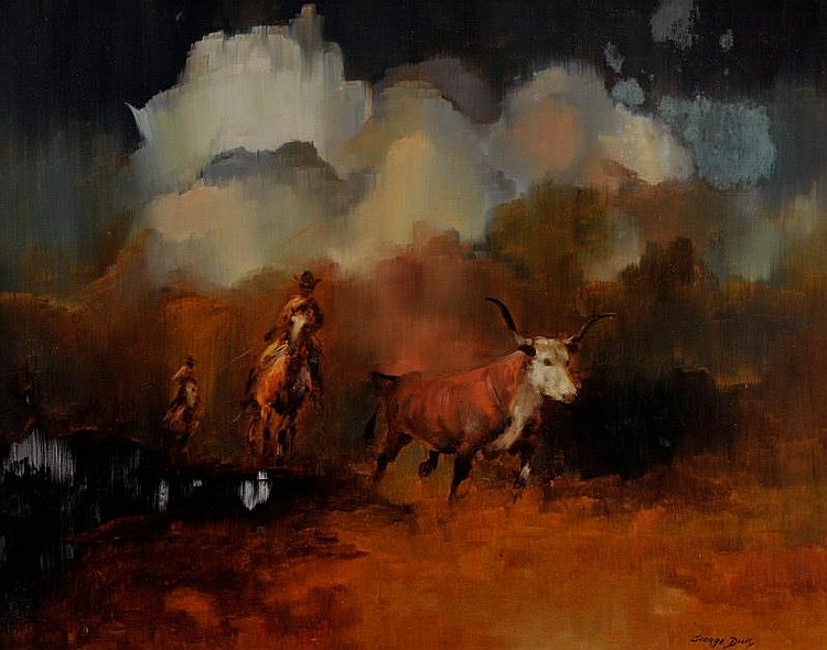 George Dick. 1916 - 1978. Driving Cattle. Oil on