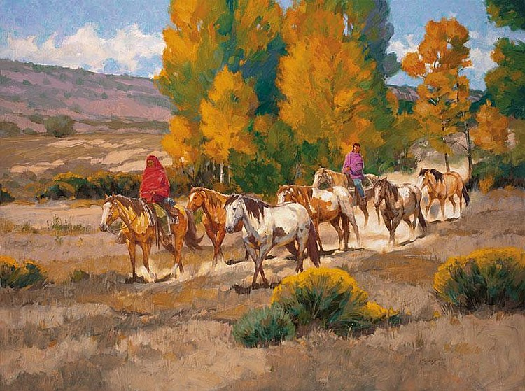 Kim Mackey. b. 1953 OPA. New Mexico Ponies. Oil on