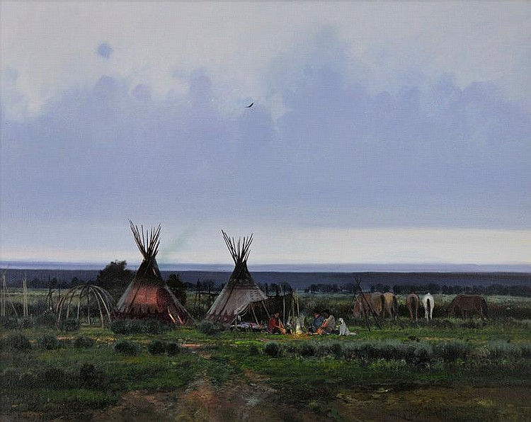 Nicholas Coleman. b. 1978. Two Teepees and Five