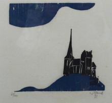 "Willand, Detlef (1935 Heidenheim) ""Stadtansicht"", in two colors, woodcut, E"