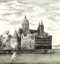 [Engravings] Amsterdam - St. Nicolaas and Schreierstoren