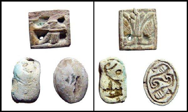 An Egyptian scarab, scaraboid and a plaque