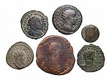 A lot of 6 ancient silver and bronze coins