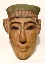 Egyptian wooden 'mummy' mask, Late Period,