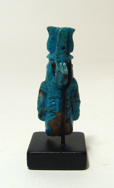 Fantastic egyptian turquoise glazed faience amulet of tawere for Faience turquoise