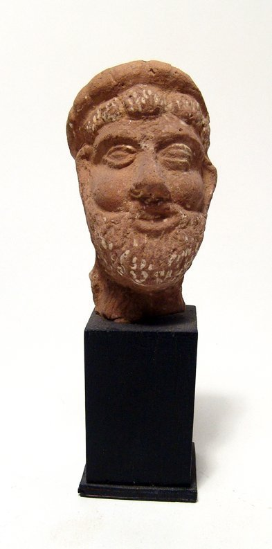 Egyptian terracotta head of a bearded man, Roman Period