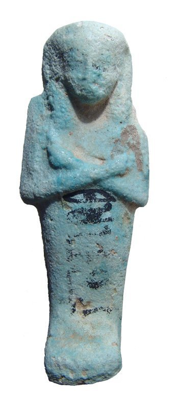 An Egyptian pale blue bicolor faience ushabti