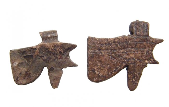 Attractive pair of stone Eye of Horus amulets, Late Period