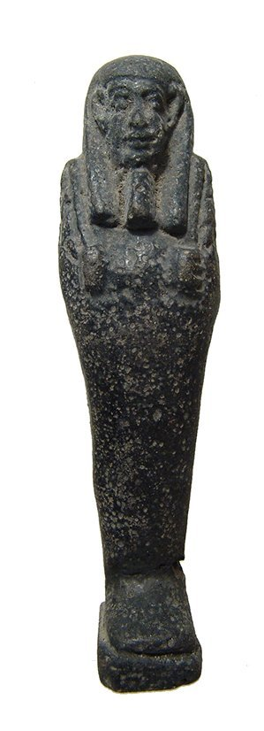 An Egyptian faience ushabti with black glaze, Late Period