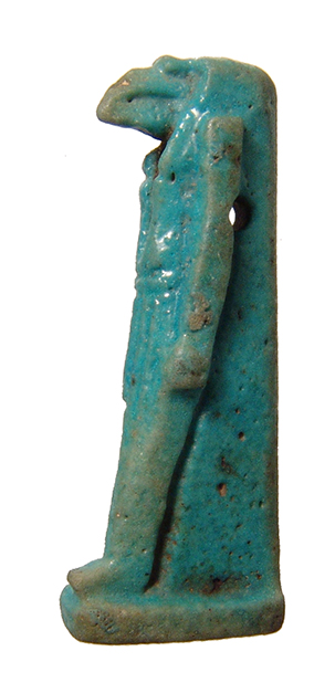 Egyptian blue-green glazed faience amulet of Thoth