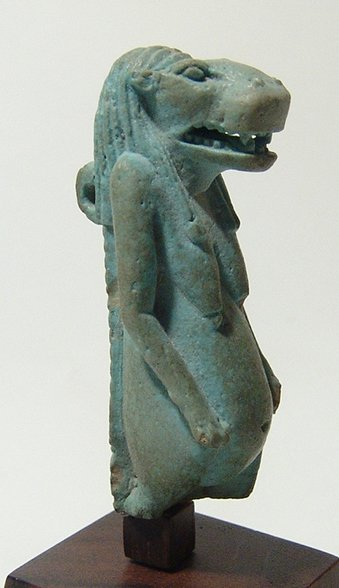Stunning Egyptian faience amulet of goddess Taweret