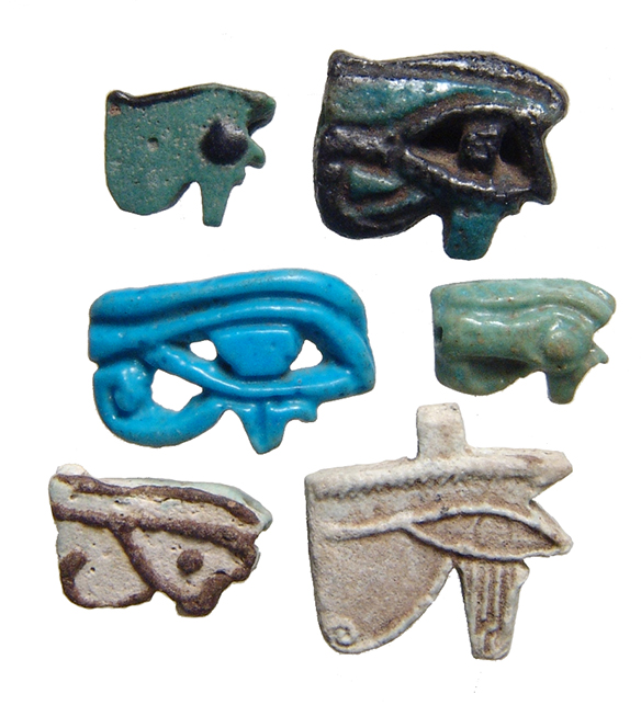 5 faience Eye of Horus amulets of different types