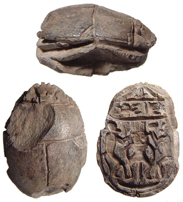 Egyptian steatite scarab, cartouche of Thutmose III