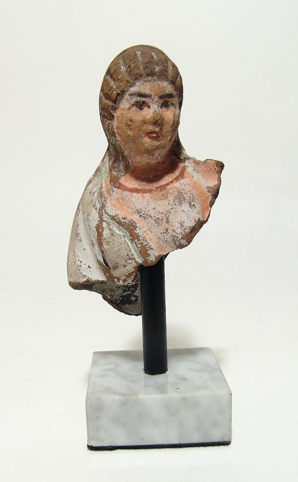 Lovely Greek terracotta bust of a woman, Egypt