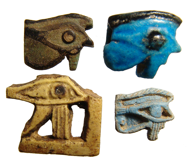 Lot of 4 Egyptian faience Eye of Horus amulets