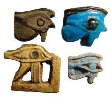 Lot of 4 Egyptian faience Eye of Horus amulets
