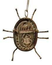 Egyptian scarab in 14k scarab necklace/brooch Thutmose III