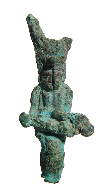 Egyptian bronze figurine of Isis with child Horus