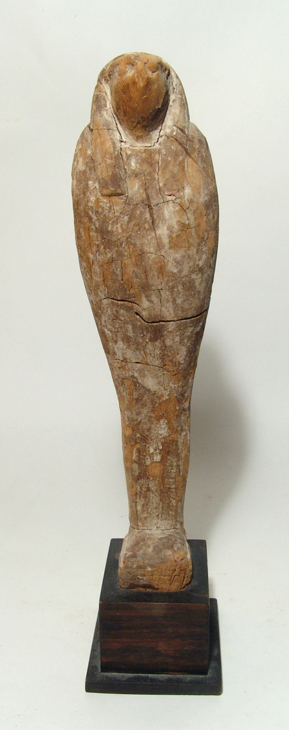 Large wooden figure of Horus in falcon form