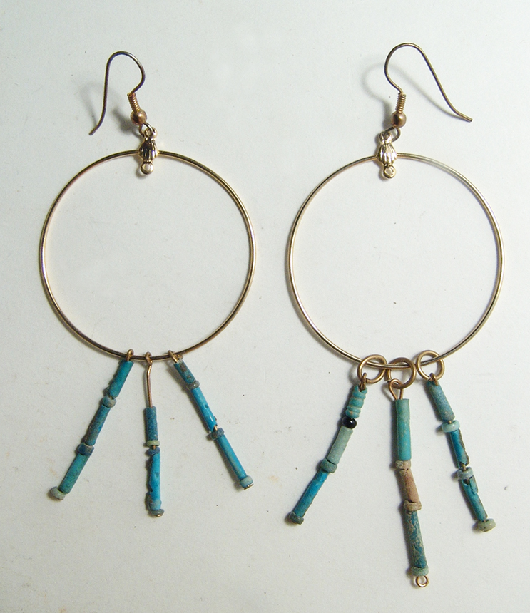 A pair of Egyptian faience bead earrings