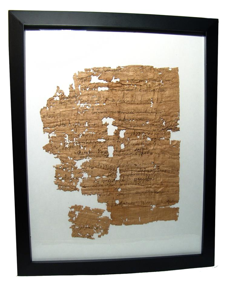 Egyptian framed papyrus fragment