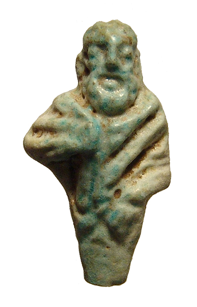 Egyptian faience amulet of bearded philosopher