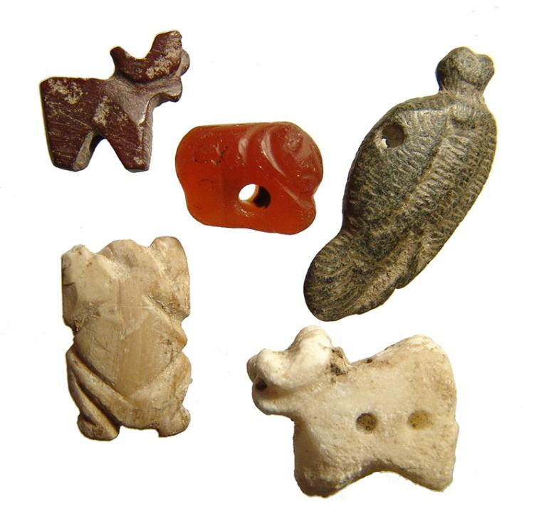 A group of 5 ancient animal amulets